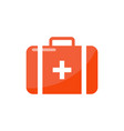 first aid suitcase in cartoon style isolated badge vector image vector image
