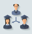 Flat icons of teacher and his students have vector image