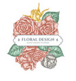 floral bouquet design with pastel roses vector image vector image