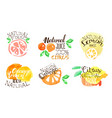 fresh natural citrus juice labels set orange vector image vector image