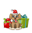 funny dog wearing santa hat with christmas gift vector image vector image