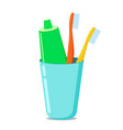 glass with toothpaste and toothbrushes vector image