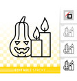 halloween pumpkin simple black line icon vector image vector image