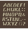 Handwritten Chalk Alphabet on Brown Background vector image vector image