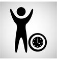 happy man with clock timw icon vector image vector image