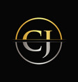 initial gold and silver color cj letter logo vector image vector image