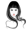 long hair style icon logo women face vector image