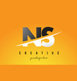 ns n s letter modern logo design with yellow vector image vector image