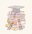 pile stack ladder graduation academic cap books vector image