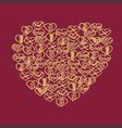 Romantic collection with 4 cards doodle vector image