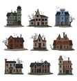 scary abandoned houses collection halloween vector image vector image