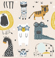 seamless childish pattern with cute animals in vector image