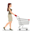 shopping woman with a cart vector image vector image