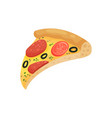 slice of appetizing pizza with sausage tomatoes vector image