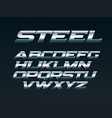 steel font metal letters set chrome alphabet vector image