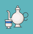 tea pot and cup filled outline icon vector image vector image