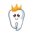 teeth funny character with crown kawaii style vector image vector image