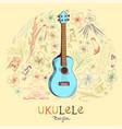 ukulele baryton in round shape pattern vector image