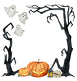 watercolor happy halloween card isolated on vector image