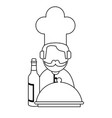 wine and gastronomy concept black and white vector image vector image