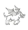 winged wild boar doodle art vector image vector image