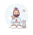 yoga man and animals vector image vector image