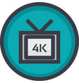 icon of 4k video quality on button in flat vector image