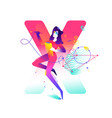 a girl letter x on background flat gradient vector image