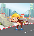a monkey playing roller skate vector image vector image