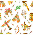 american indians seamless pattern ethnic tribal vector image