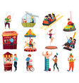 amusement park isolated icons set vector image