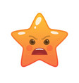 angry star shaped comic emoticon vector image vector image