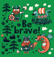 be brave motivation card cute cartoon characters vector image vector image