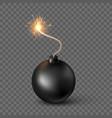black sphere bomb burning fuse bomb vector image vector image