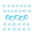 blue frost font geometric alphabet 3d vector image