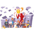 businessman watchhead company meeting team vector image