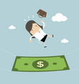 businesswoman falling into a money banknote vector image vector image