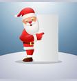 cartoon happy santa claus pointing blank sign vector image
