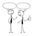 Cartoon of two men male business people talking