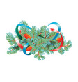 christmas decorations fir branches with cones and vector image