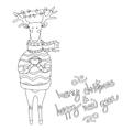 Christmas deer Happy New Year Reindeer vector image vector image