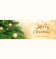 christmas greeting card with tree and gold blur vector image vector image