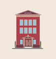 classic low-rise school building front view vector image vector image