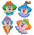 clowns head collection vector image vector image
