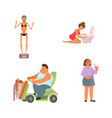 collection men and women with eating disorders vector image vector image