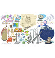 Colored doodle scientific elements set vector image