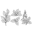 decorative holly branches and festive candle vector image vector image