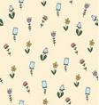 doodle flower seamless pattern vector image