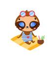 flat doodle cute cartoon summer sloth sunbathing vector image