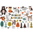 Forest animals and plants in scandinavian